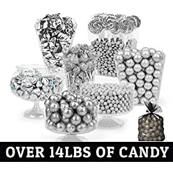 Silver Candy Buffet - (Approx 14lbs) Includes Hershey's Kisses, Sixlets, Gumballs, Dum Dum Lollipops, Buttermints & More - Free Cold Packaging