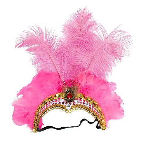 ShiyiUP Masquerade Ball Headwear Belly Dance Feathered Headgear]()