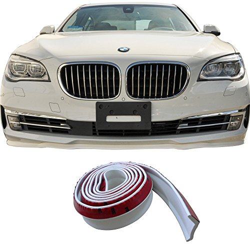 Front Bumper Lip Fits Universal Vehicles | Type 1 White Rubber Foam Front Lip Finisher Under Chin Spoiler Add On by IKON MOTORSPORTS -