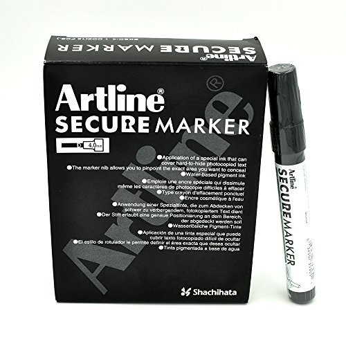 Secure Marker Redacting Pen | Blackout Marker | Blacks Out Private Information (12 Markers) by Holmes Stamp & Sign