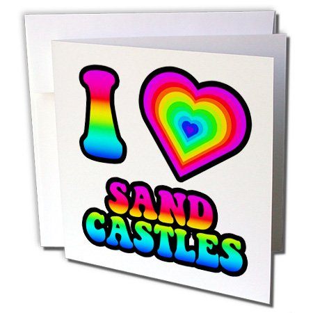 3dRose Dooni Designs - Groovy I Heart Love Designs - Groovy Hippie Rainbow I Heart Love Sand Castles - 1 Greeting Card with envelope (gc_217497_5)