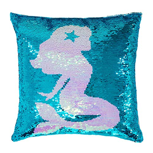 """Sequin Throw Pillow Covers Mermaid Reversible Sequin Pillow Case Change Color for Kids Girl Boy Glitter Cushion Cover For Home Decorative Couch Sofa Bed 16""""x16"""""""