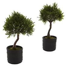 Nearly Natural 4965-S2 Cedar Bonsai Artificial Tree with Planter, Green, Set of 2