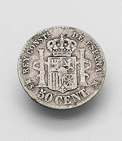 Desconocido Moneda 50 Cent de Plata del Año 1880 Durante La Epoca ...