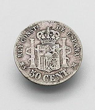Desconocido Moneda 50 Cent de Plata del Año 1880 Durante La Epoca de Alfonso XIII. Moneda Coleccionable. Moneda Antigua.: Amazon.es: Juguetes y juegos