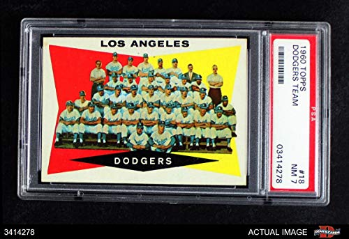 1960 Topps # 18 Dodgers Team Checklist Los Angeles Dodgers (Baseball Card) PSA 7 - NM - Topps Checklist 1960