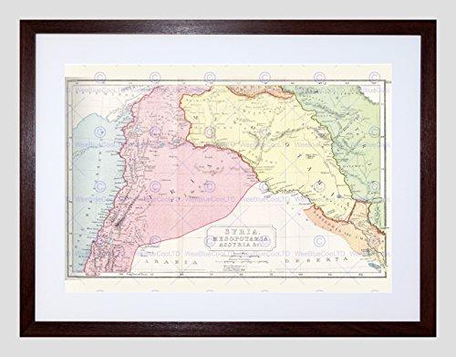 Map Syria Mesopotamia Assyria Vintage Framed Art Print Poster F