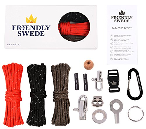 The Friendly Swede DIY Paracord Kit - With 3 X Cords + 10 X Essential Accessories to Make Your OWN Survival Paracords, with Basic Instructions + (Reflective Mix)