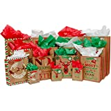 Christmas Gift Bag Variety Pack (60 Pieces) - 15 High Quality Gift Bags Various Sizes - 15 Sheets of Each Green, Red, and White Tissue Paper - iDeal Brandz (Craft)