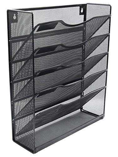 - Klickpick Office 5 Sections Hanging Files Wall Mounted Metal Mesh Document File Organizer Magazine Holder Rack Desk Organizer Racks Multipurpose Use To Display File(Black, 5 tray wall racks New style)