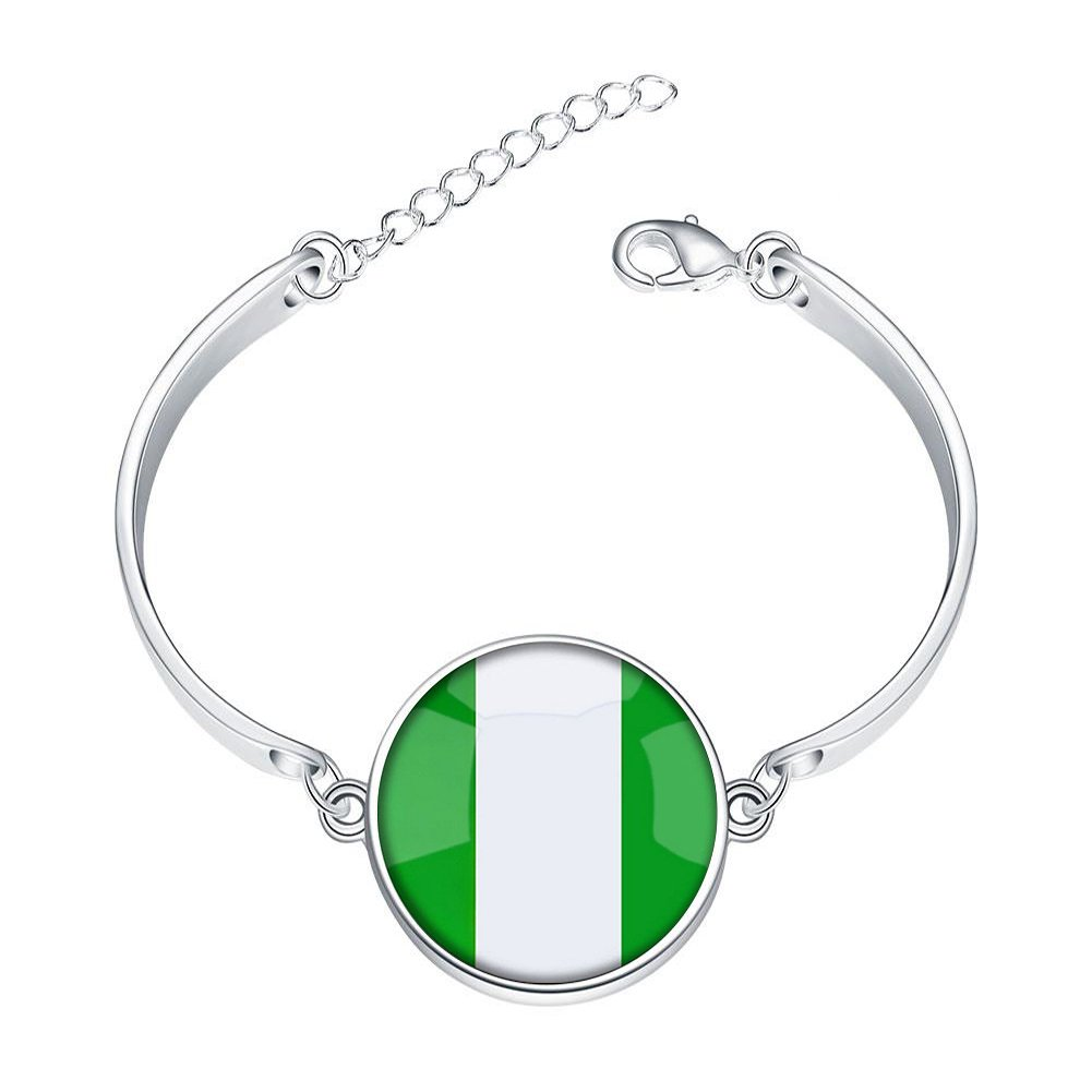 DOME-SPACE Adjustable Silver Bracelets Federal Republic of Nigeria National Flag Hand Chain Link Bracelet Clear Bangle Custom Glass Cabochon Charm
