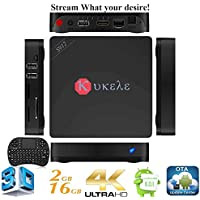 Kukele 2017 I68-II Internet Streaming Media Center Player Android 6.0 Marshmallow [S912/2GB+16GB/Octa Core/4K/11AC WIFI/Instruction/Wireless Keyboard] TV Box MINI PC