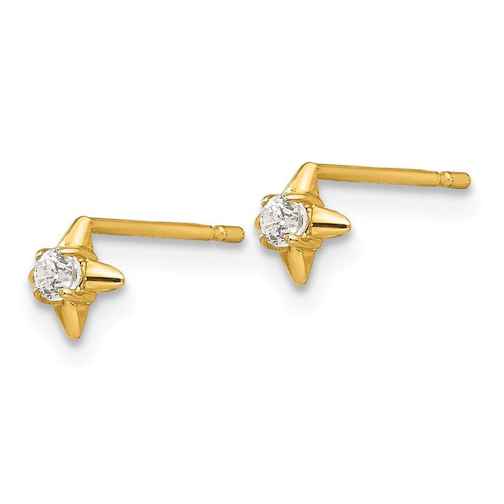 14k Yellow Gold Madi K CZ Childrens Post Earrings
