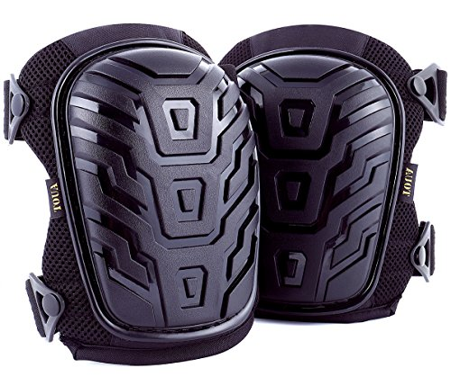 Professional Knee Pads, Comfortable Heavy Duty Foam Pads & Gel Cushion, Durable Adjustable Straps and Easy-Fix Clips Kneepds, Flex & Strong by TOUA