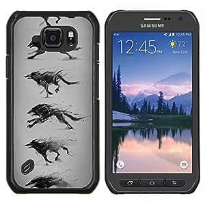 EJOOY---Cubierta de la caja de protección para la piel dura ** Samsung Galaxy S6Active Active G890A ** --Lobo que corre Dibujo Lápiz Arte del perro salvaje