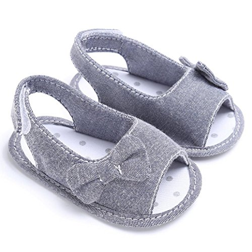 Binmer(TM) Newborn Toddler Girl Soft Sole Bowknot Sandals Shoes Baby Crib Cloth Prewalkers (0~6 Month, Grey)