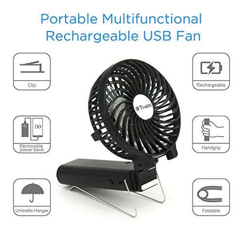Tiveco Portable Handheld USB Rechargeable Fan With 3000mAh Power Bank - V2 Black by Tiveco (Image #3)