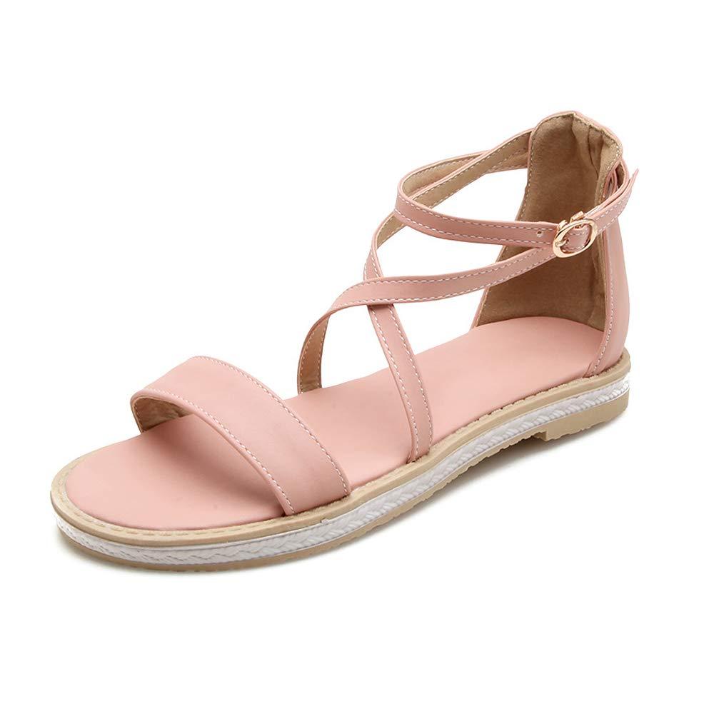 Pink HEDDK Summer Women Sandals Casual Student Wild Flat Open Toe Big Buckle with Sandals Beach Sandals Big Size 31-42