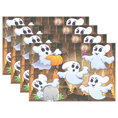 (Ghost Halloweem Placemats Set of 4 Heat Wrinkle Resistant Antiskid Table Mats Decoration for Dinner Kitchen)