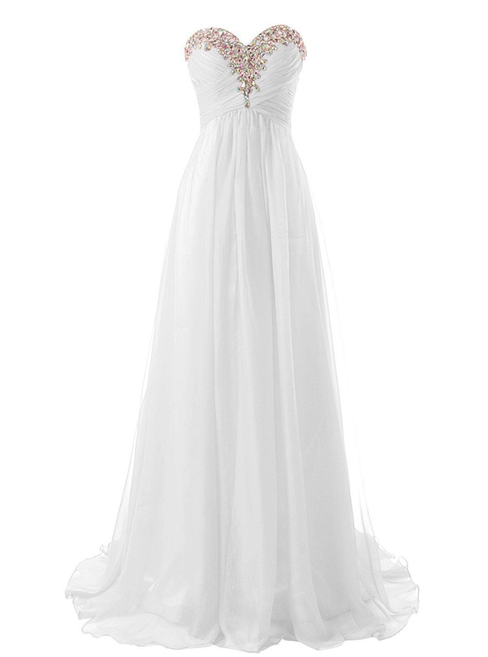 Snowskite Sweetheart Long Beaded Chiffon Bridesmaid Dress Evening Dress Ivory 24