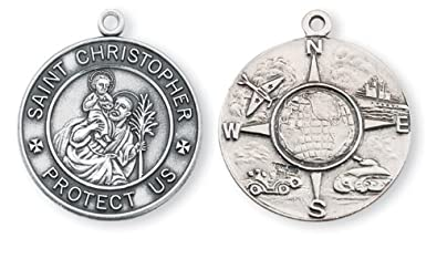 Amazon compass double sided sterling silver patron saint compass double sided sterling silver patron saint christopher medal pendant aloadofball Images