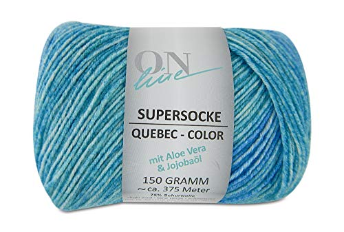Supersocke Quebec Color Sock Yarn 6-Ply Superwash DK Light Worsted #3 Gauge Virgin Wool Nylon Blend Tonal Colors 5.3 Ounces 410 Yards (2266 Turquoise)
