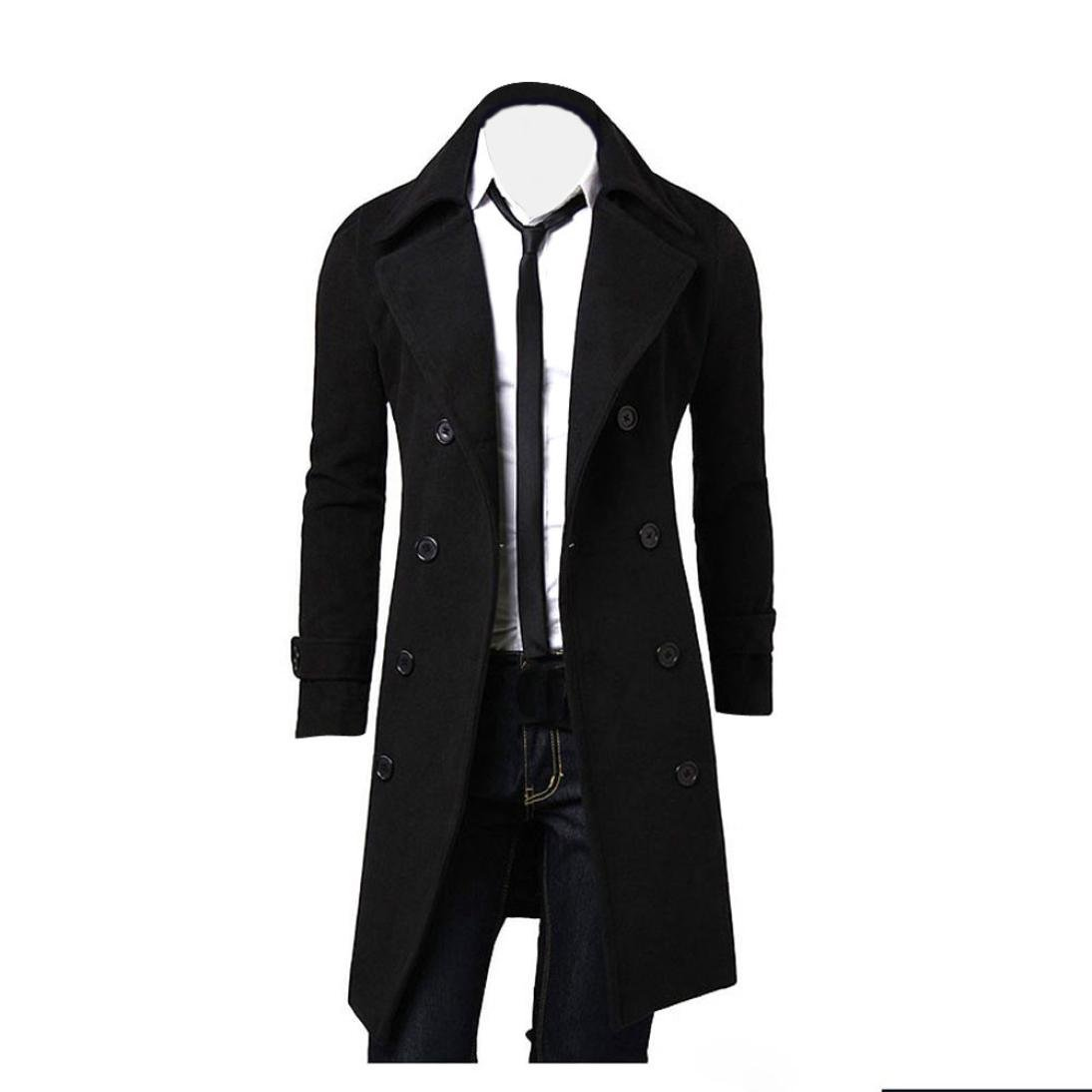 Qisc Mens Trench Coat Winter Wool Long Jacket Double Breasted Knee Length Overcoat at Amazon Mens Clothing store: