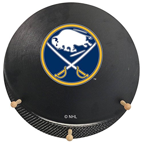 NHL Buffalo Sabres Hockey Puck Shaped Team Coat Rack with Three Pegs, 15