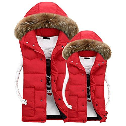 Hat Winter Red Detachable Sleeveless Men's Outerwear Hood Coats Vest Capispalla Zhuhaitf HqXwxYvq