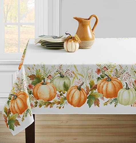 Benson Mills Autumn Gathering Printed Spillproof Tablecloth for Thanksgiving, Harvest and Fall (Autumn Gathering, 60