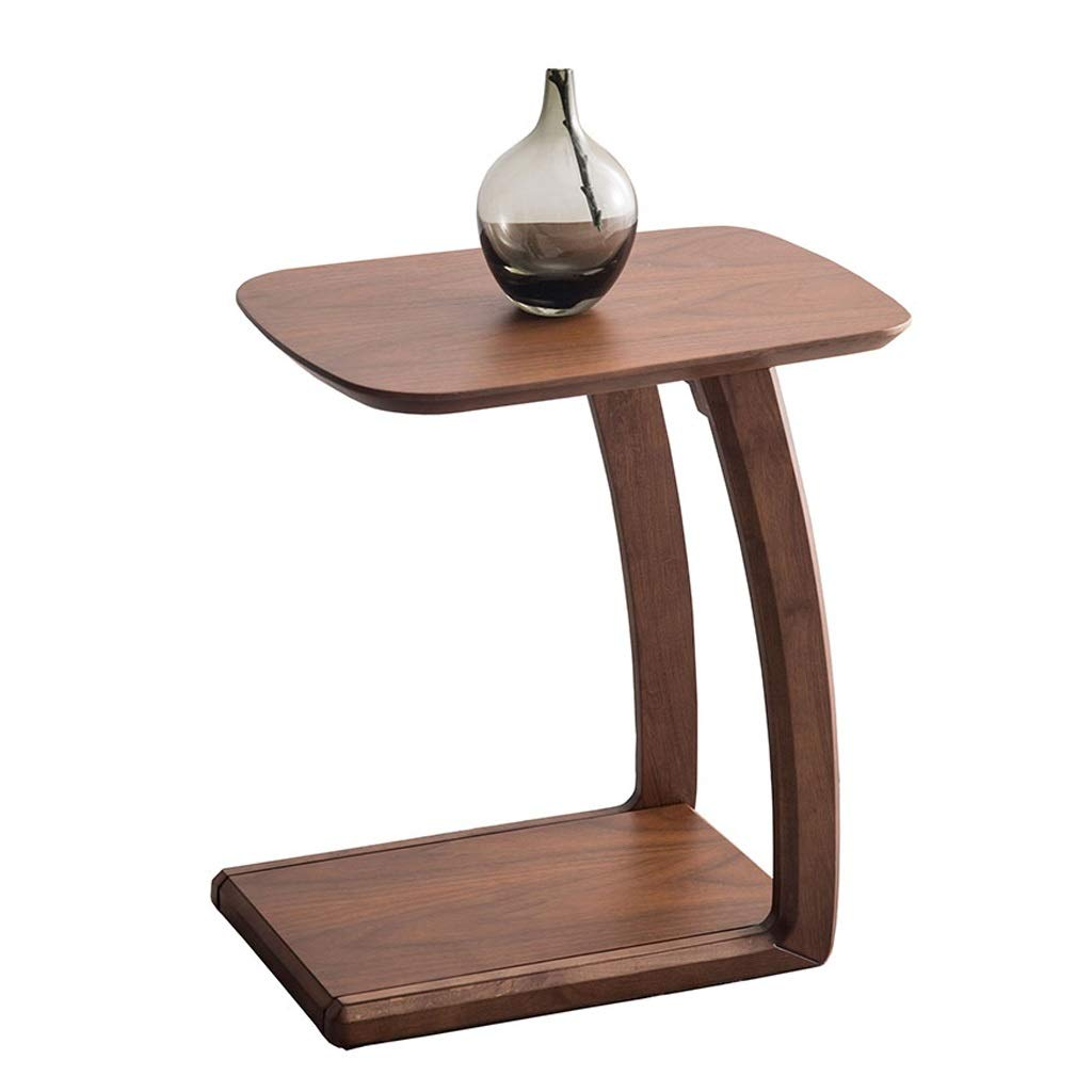 Wood Pedestal End Table with arc-Shaped Legs,C Shaped Space Saving Coffee Table for Living Room, Walnut by LYR
