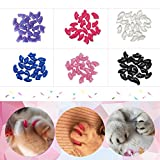 Eyourlife 120Pcs Soft Pet Cat Nail Caps Claws Control Paws of 6 Kinds Cat Pet Kitten with Glue Claws Control Paws Off Size L