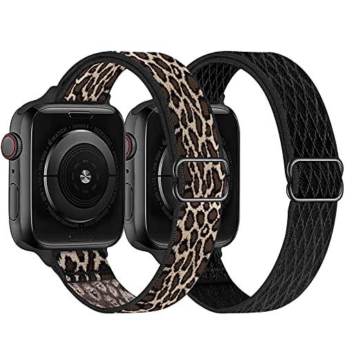 Mallas streech reloj Apple Watch x2u. black/cheeta 38-40mm