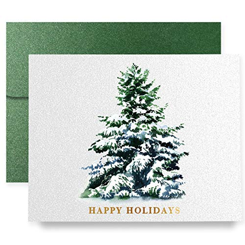 Christmas Holiday Greeting Cards Boxed Set of 8 Shimmer Cards & Green Envelopes   Luxe Christmas Tree Folded Cards   8 Count Box of Boutique Christmas Cards   ()