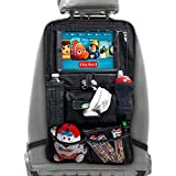 XL Car Seat Organizer for Kids - Car Seat Back Protector with Tablet Holder Converts to Stroller Organizer - Waterproof Backseat Car Organizer with iPad Car Holder and Wipe Compartment (1 Pack)
