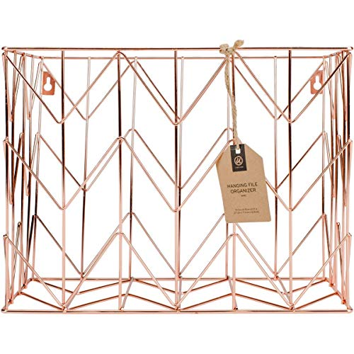 U Brands Hanging File Desk Organizer, Wire Metal, Copper/Rose Gold (Decorative File Holder)