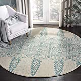Cheap Safavieh Evoke Collection EVK521F Ivory and Teal Round Area Rug (6'7″ in Diameter)