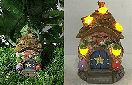 Fairy Garden   House With Thatched Roof/Star Solar Lights