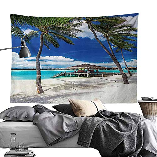 Bedroom Living Room Dormitory Tapestry Beach Hammock Decor Collection Palm Trees on Tropical Beach with Vibrant Summer Sky Picture Wall Hanging W24 x L20 Ivory Blue Aqua (Best Tapestries On Society6)