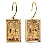 Women's Gustav Klimt/Vincent Van Gogh Gold-Flecked Earrings - Tree Of Life