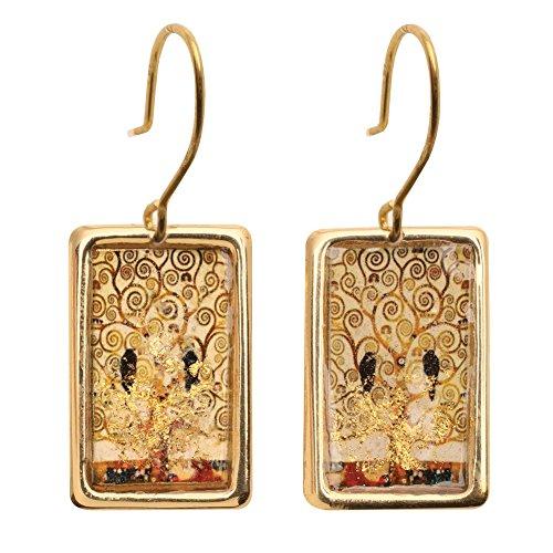 Women's Gustav Klimt/Vincent Van Gogh Gold-Flecked Earrings - Tree Of Life