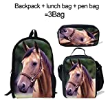 Cute Horse Backpack+Pen Bag with lLunch Bag for Kids Boys Girls Back to School