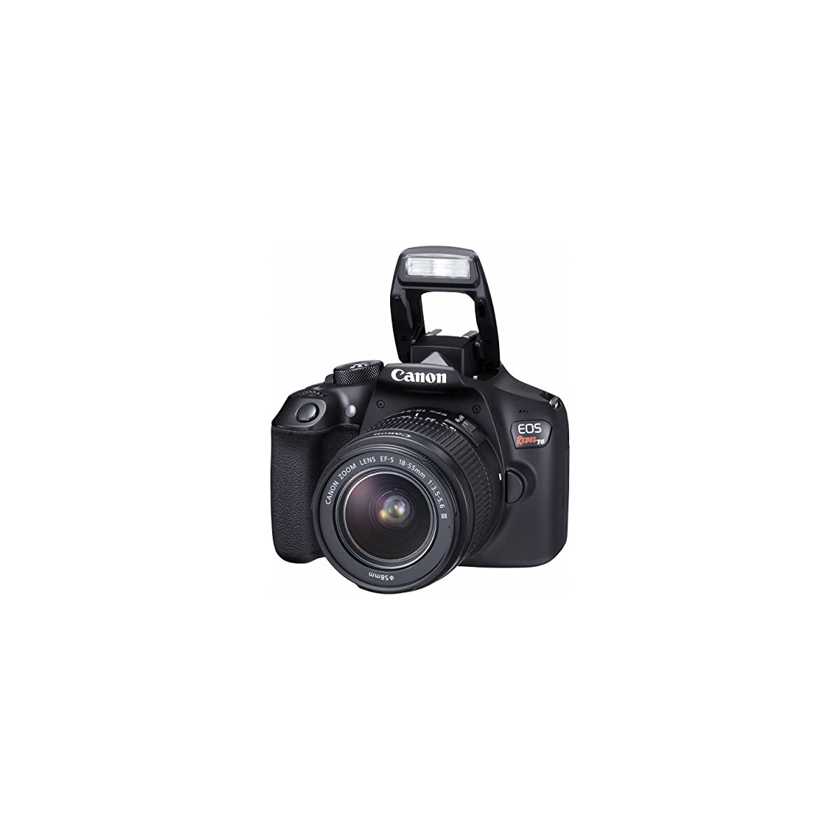 Canon EOS Rebel T6 DSLR Camera with EF-S 18-55mm f/3 5-5 6 is II Lens, EF  75-300mm f/4-5 6 III Lens, 64GB, Along with Fibertique Cleaning Cloth, and