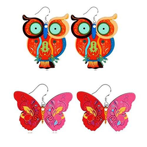 AISHEMI 2PCS Women Earrings Acrylic Painting Cute Big Eyes Owl and Butterfly Dangle Earrings (Earrings (Acrylic Butterfly Earrings)