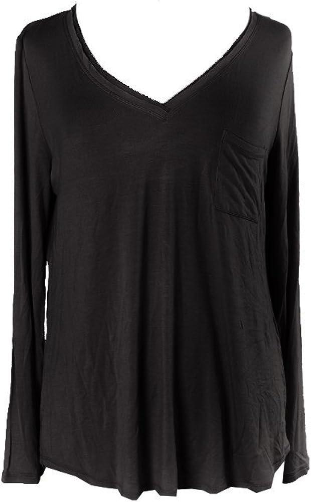 Alfani Womens V-Neck Knit Pajama Top Black XS