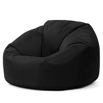 nouveau style 2e994 78fb7 Bean Bag Bazaar® chaise pouf poire lambrissée XL pour l'intérieur/  l'extérieur NOIR- pouf poire grand