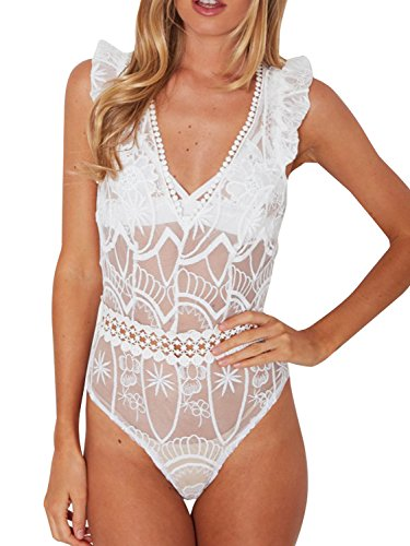 Simplee ropa mujer cuello V sin mangas leotard mallas transparentbodysuit floral lace lingerie Clubwear Blanco