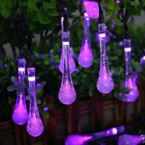 Solar Drop Lights, DINOWIN Water Drop Fairy Lights 20ft 30LEDs Solar Water Drop Waterproof for Outdoor, Garden, Christmas Decorations (Purple)