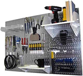 product image for Pegboard Organizer Wall Control 4 ft. Metal Pegboard Standard Tool Storage Kit with Galvanized Toolboard and White Accessories