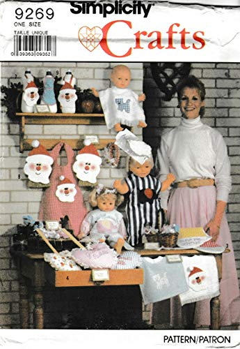 SIMPLICITY 9269 ~ Bazaar Items Sewing Pattern ~ bib, body bib, burping bib, grandma's paddle, boo boo bunny, headband & bow, santa detergent bottle cover, santa whisk broom cover, small ()